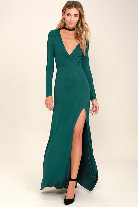 Teal Long Sleeve Dress