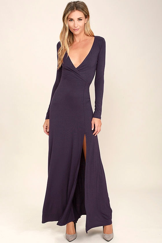 Lovely Purple Maxi Dress - Long Sleeve Dress - Surplice Maxi - $48.00