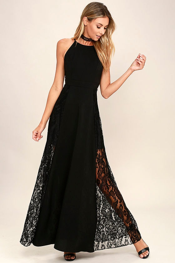 Lovely Black Maxi Dress Lace Maxi Dress Black Lace Dress 7900