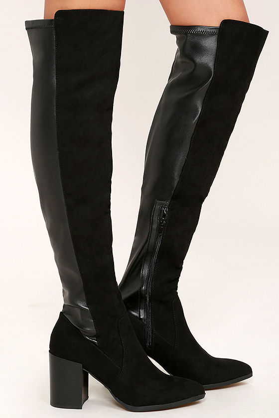 Report Jetsan Boots - Black Suede Boots - Over the Knee Boots