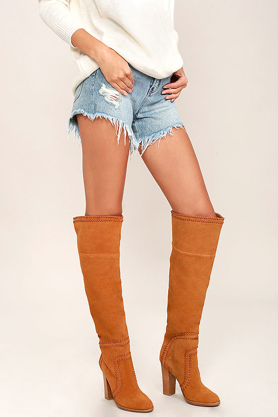 5c4755c0601 Report Liola Boots - Tan Suede Leather Boots - Over the Knee Boots