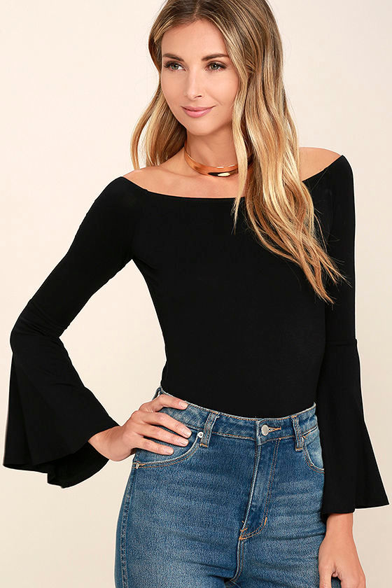 Black Striped Off the Shoulder Top with Long Bell Sleeves. $ Black Off the Shoulder Top with Sheer Lace Detail. $ $ (You save $ - Final Sale Item) Off White Off the Shoulder Bell Sleeve Top. $ White Long Sleeve Bodysuit with Plunging Neckline.