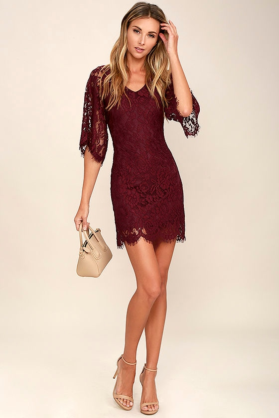 Burgundy Dress With Gold Shoes