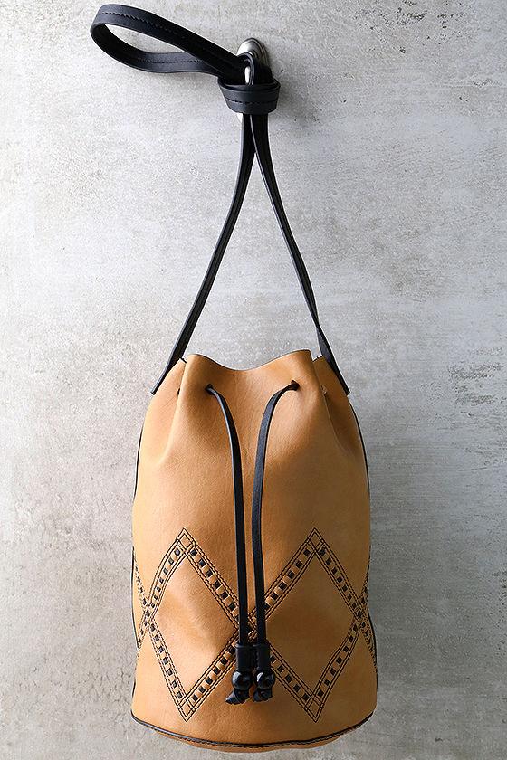 Sleek Tan Purse - Tan Drawstring Bag - Bucket Bag - $36.00