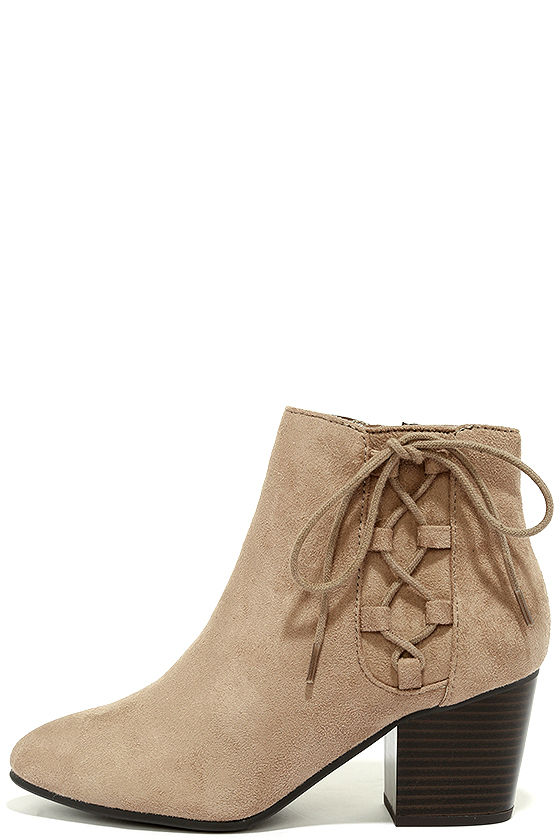 Treat You Right Dark Clay Suede Ankle Booties 2