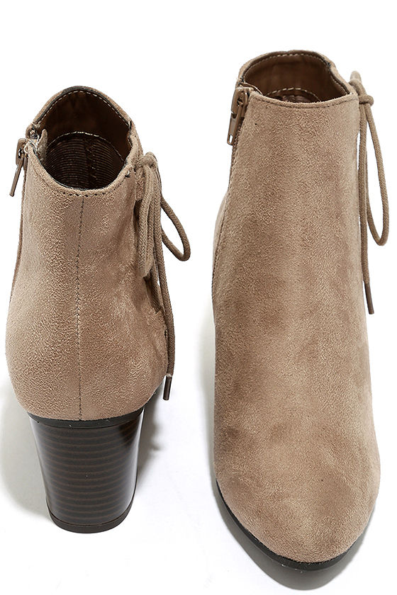 Treat You Right Dark Clay Suede Ankle Booties 3
