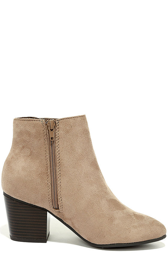 Treat You Right Dark Clay Suede Ankle Booties 4