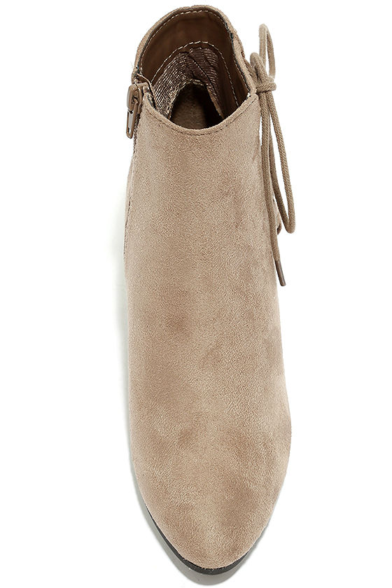 Treat You Right Dark Clay Suede Ankle Booties 5