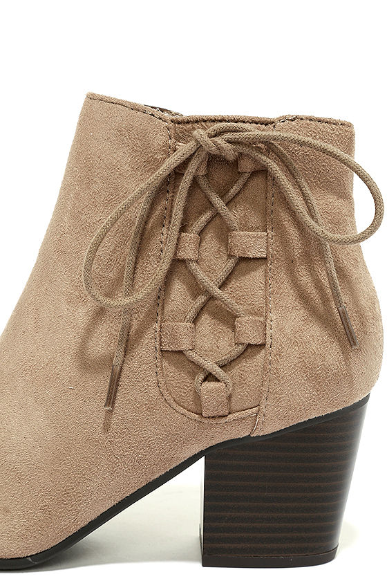Treat You Right Dark Clay Suede Ankle Booties 7