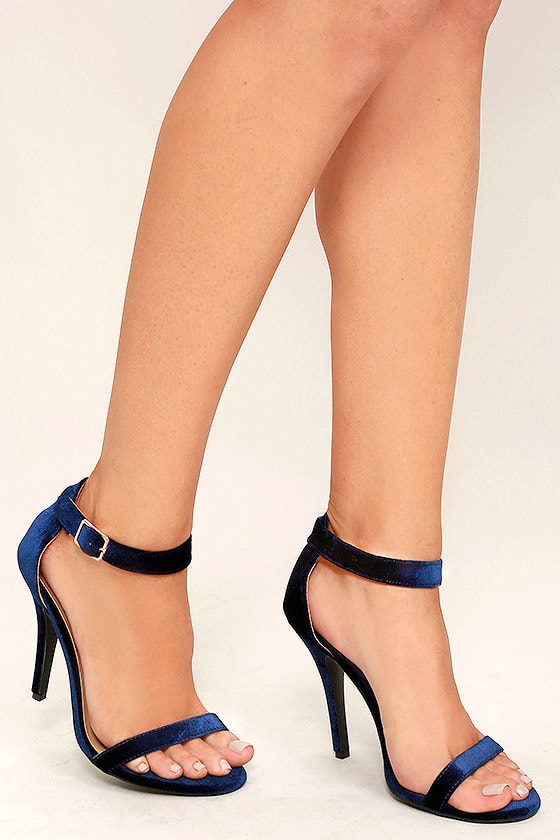 Time to Party Navy Velvet Ankle Strap Heels 1
