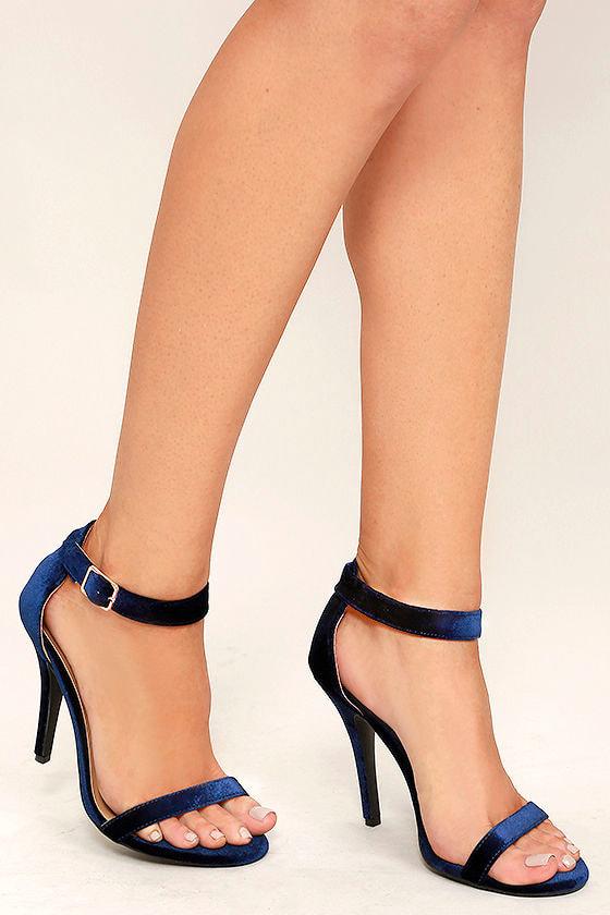 Cute Navy Heels Ankle Strap Heels Dress Sandals 28 00