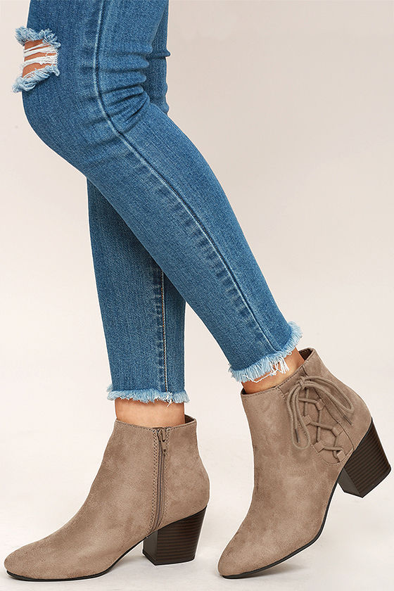 776e16d5e474 Cute Dark Clay Ankle Booties - Vegan Suede Booties - Lace-Up Ankle Boots -   32.00