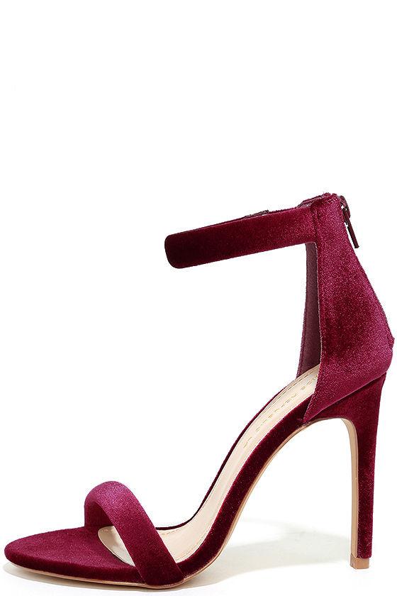 cc7eb6f711a Sexy Wine Heels - Velvet Heels - Ankle Strap Heels -  32.00