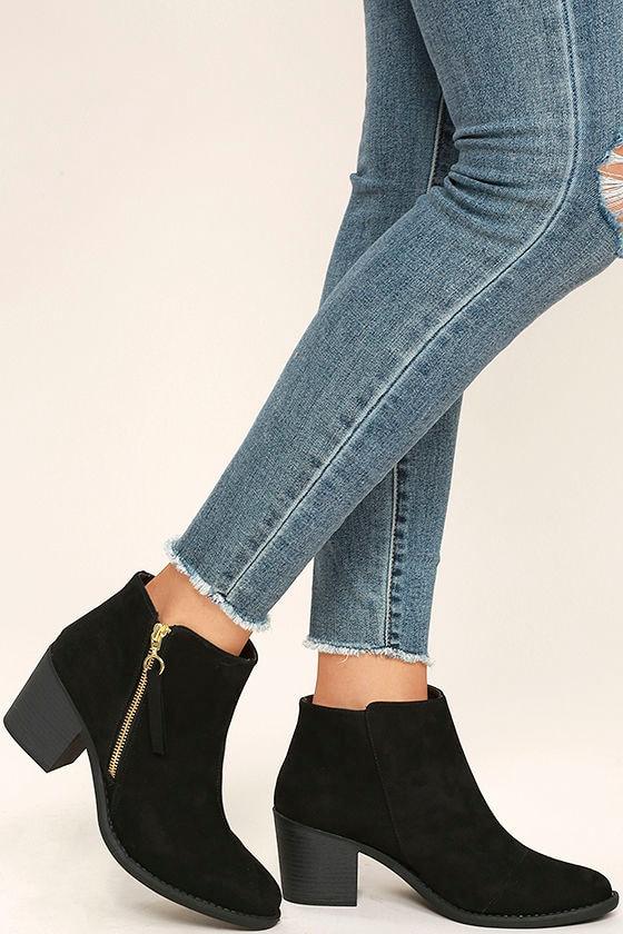 Crisp Air Black Suede Ankle Booties 1
