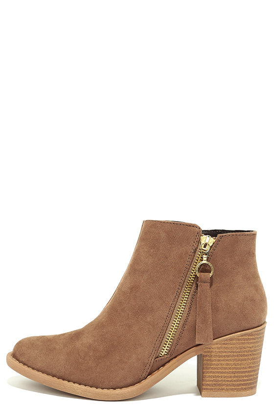 Crisp Air Taupe Suede Ankle Booties 2