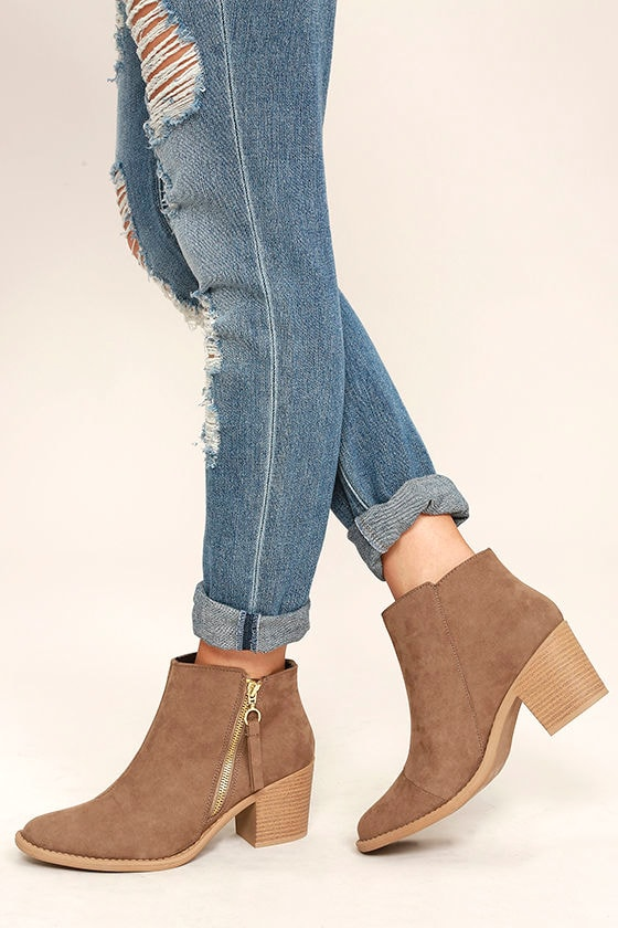 c98fb2f2a8e7b Cute Taupe Booties - Vegan Suede Booties - Ankle Booties -  34.00