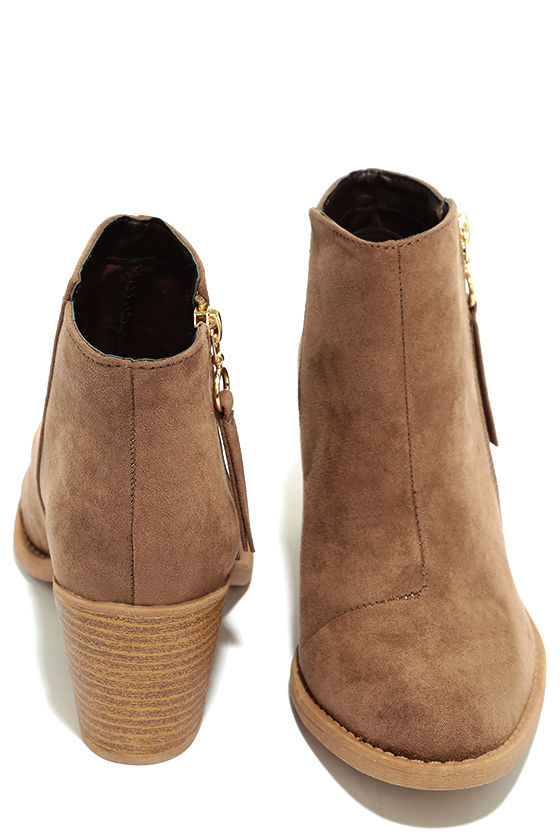 Crisp Air Taupe Suede Ankle Booties 3