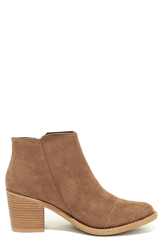 Crisp Air Taupe Suede Ankle Booties 4