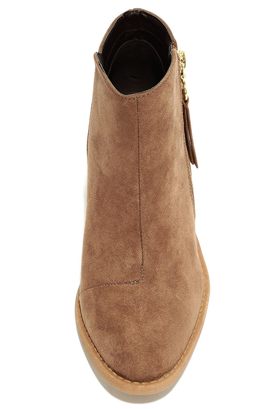 Crisp Air Taupe Suede Ankle Booties 5