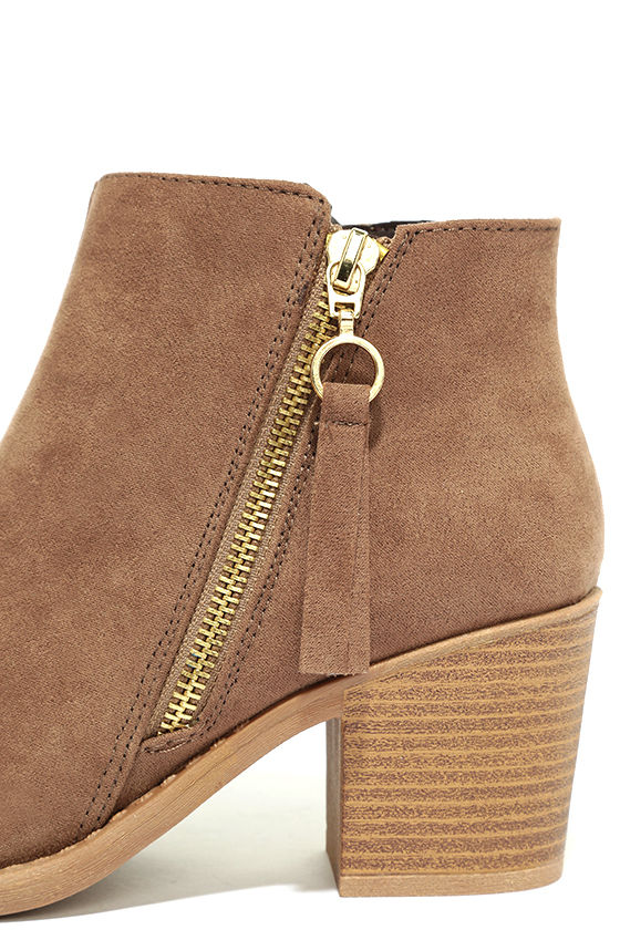 Crisp Air Taupe Suede Ankle Booties 7