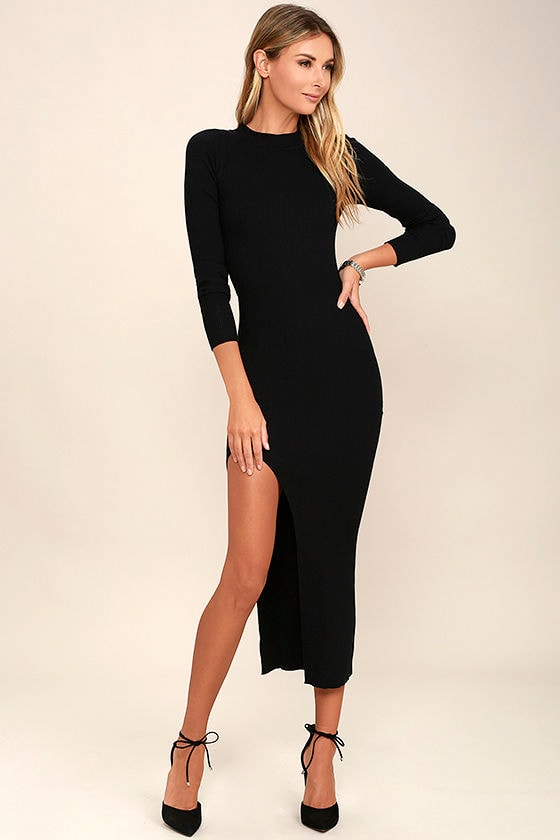 Chic Black Bodycon Midi Dress - Long Sleeve Dress - Ribbed Knit ...