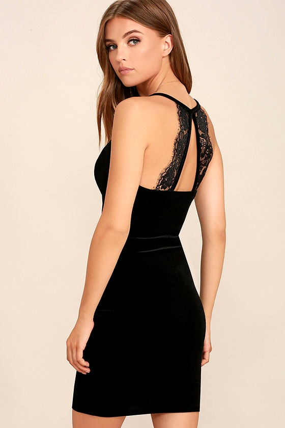 Sultry Summoning Black Velvet Bodycon Dress 1