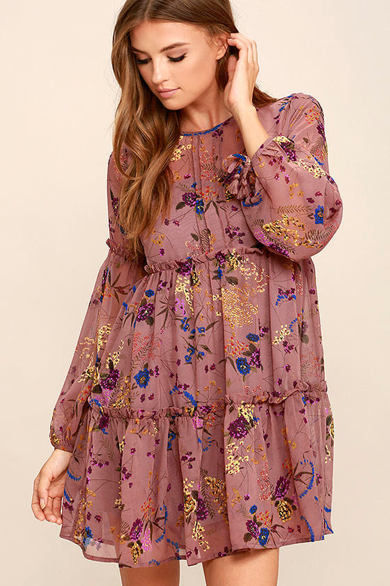 529e41dd0a56 Pretty Mauve Dress - Floral Print Dress - Babydoll Dress - Long Sleeve Dress  - $58.00