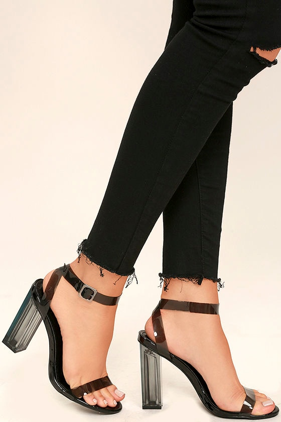 ca0601a04a5 Sexy Clear Heels - Black Lucite Heels - Block Heels -  45.00