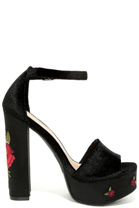Chinese Laundry Ariana Heels - Black Velvet Heels - Platform Heels