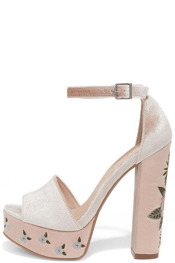 6391194ca2 Chinese Laundry Ariana Heels - Nude Velvet Heels - Platform Heels