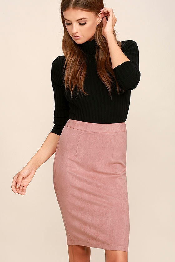 Superpower Blush Suede Pencil Skirt 1
