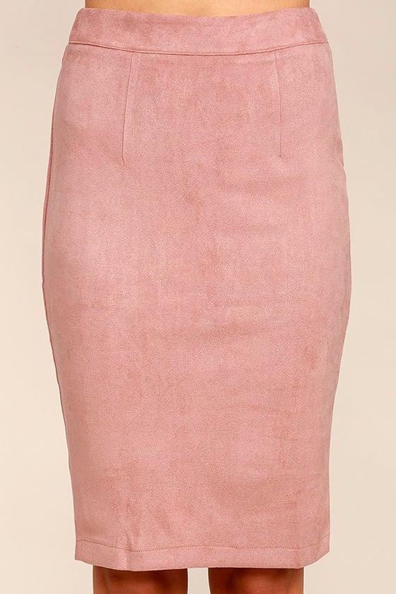 Chic Blush Skirt - Pencil Skirt - Midi Skirt - Vegan Suede Skirt ...