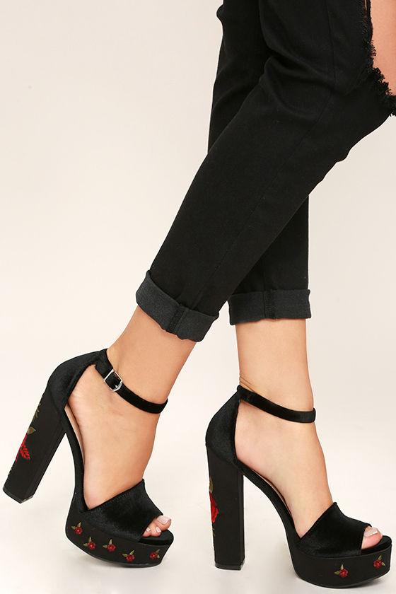 97ae9776b835 Chinese Laundry Ariana Heels - Black Velvet Heels - Platform Heels