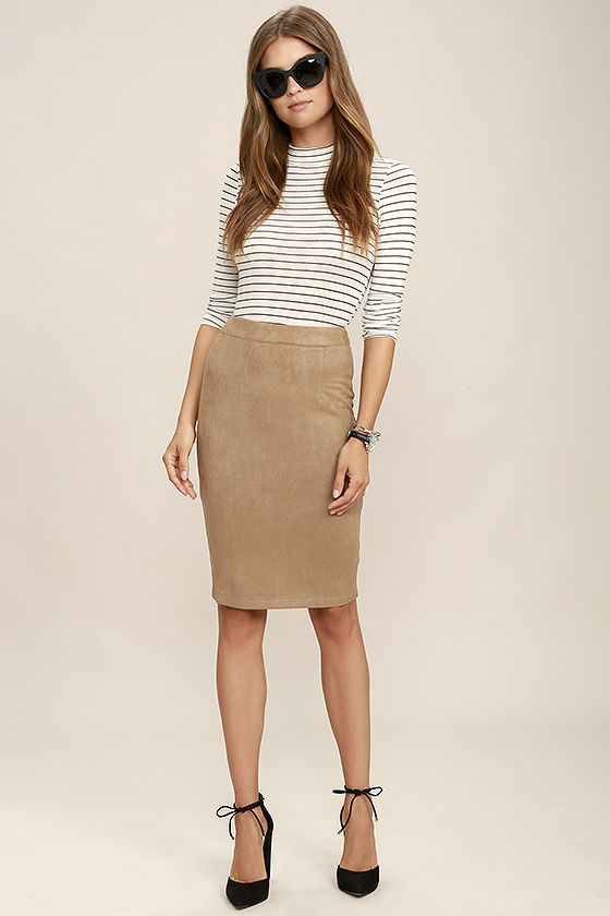 Chic Tan Skirt - Pencil Skirt - Midi Skirt - Vegan Suede Skirt ...