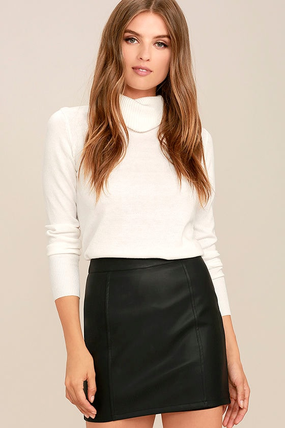 Sexy Black Skirt - Vegan Leather Skirt - Mini Skirt - $47.00