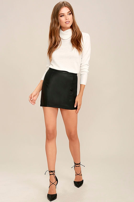 fafc87f75082 Sexy Black Skirt - Vegan Leather Skirt - Mini Skirt - $47.00