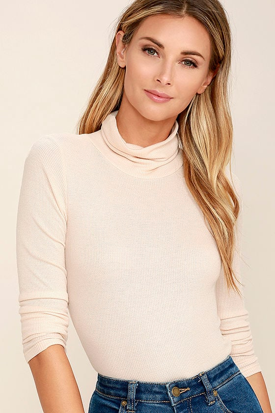 Cute Turtleneck Top - Blush Pink Top - Long Sleeve Top - Thermal ...