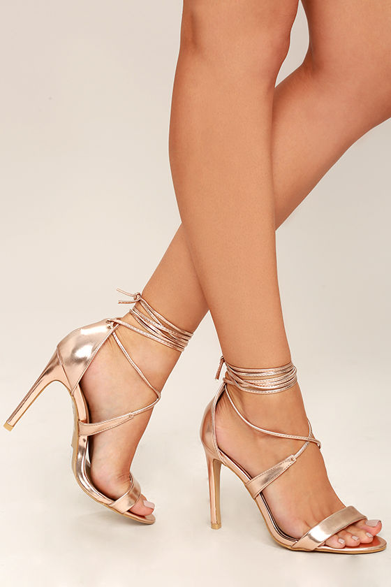 Lovely Rose Gold Heels Lace Up Heels Single Sole Heels