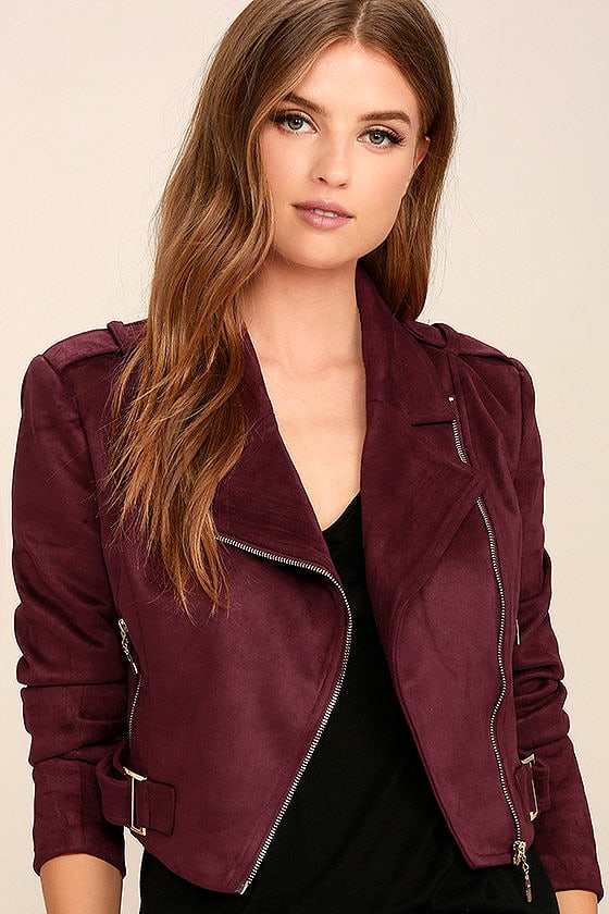 Tree-Lined Road Burgundy Suede Moto Jacket 1
