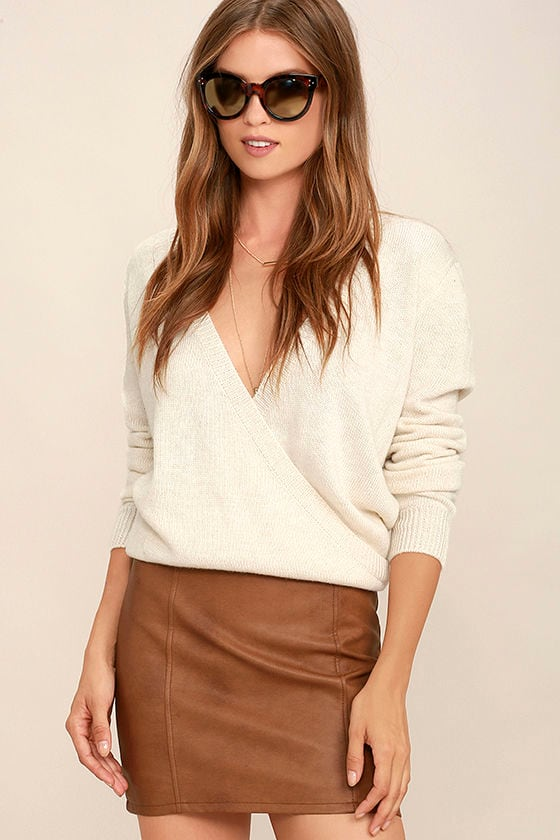 Sexy Tan Skirt - Vegan Leather Skirt - Mini Skirt - $47.00