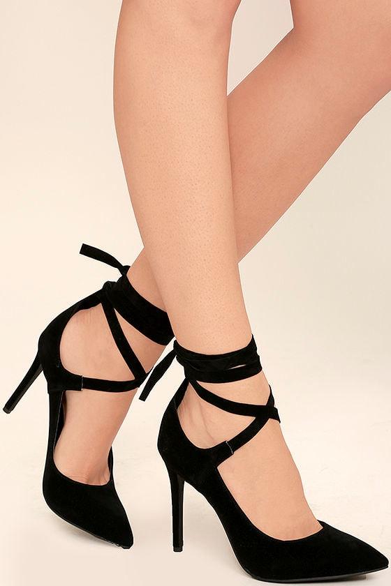 Sexy Black Heels - Vegan Suede Heels - Lace-Up Heels - $34.00