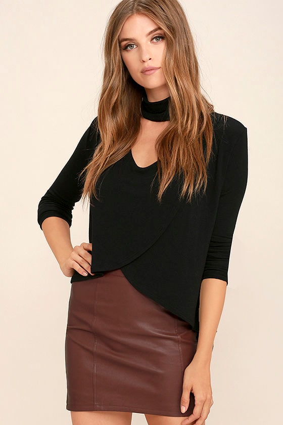 Sexy Burgundy Skirt - Vegan Leather Skirt - Mini Skirt - $47.00