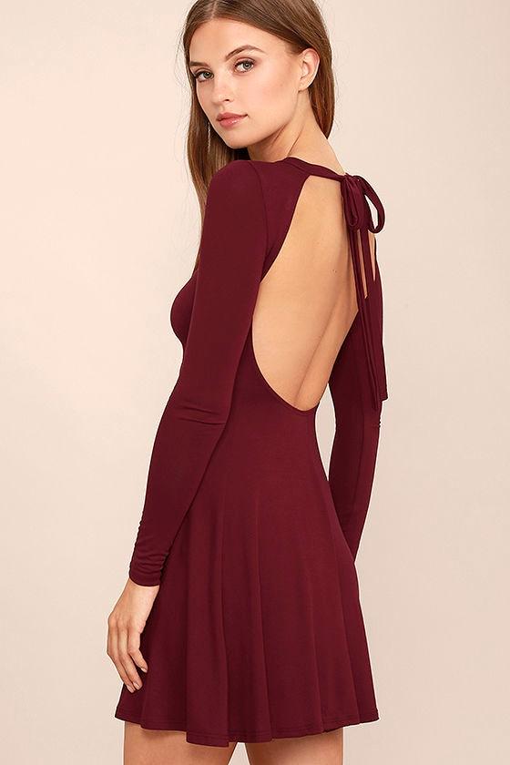 Burgundy Dress - Backless Dress - Long Sleeve Dress - Swing Dress ...