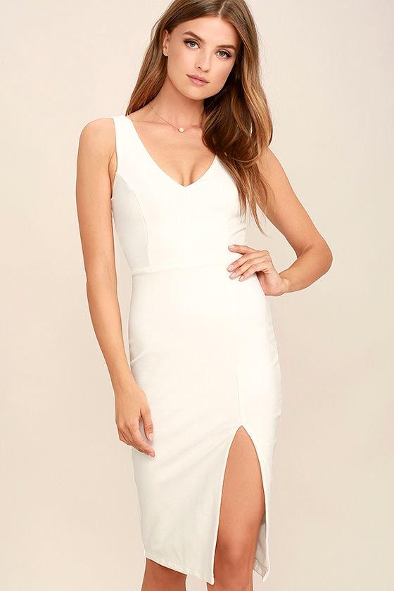 5b3e9d813a4 Sexy White Dress - Bodycon Dress - Midi Dress -  58.00