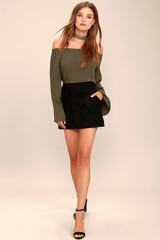 Simply Perf Black Suede Mini Skirt 2