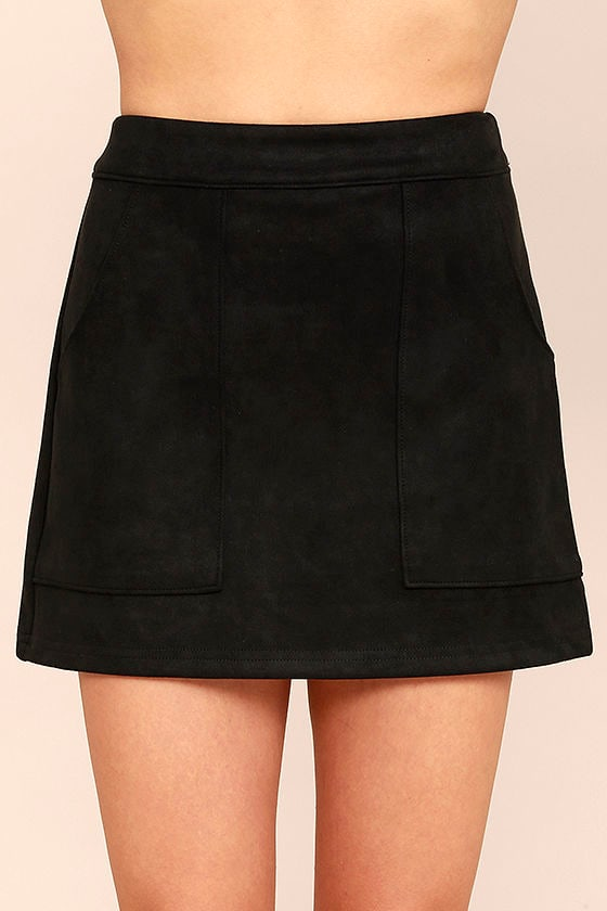 Cute Black Suede Mini Skirt - Vegan Suede Mini Skirt - $42.00