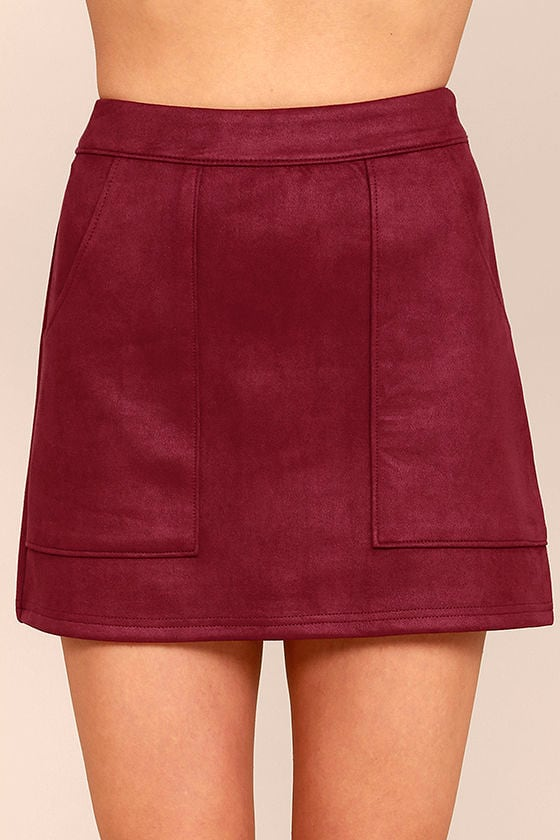 Cute Wine Red Suede Mini Skirt - Vegan Suede Mini Skirt - $42.00