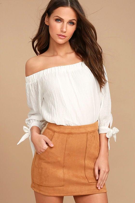 Cute Tan Suede Mini Skirt - Vegan Suede Mini Skirt - $42.00