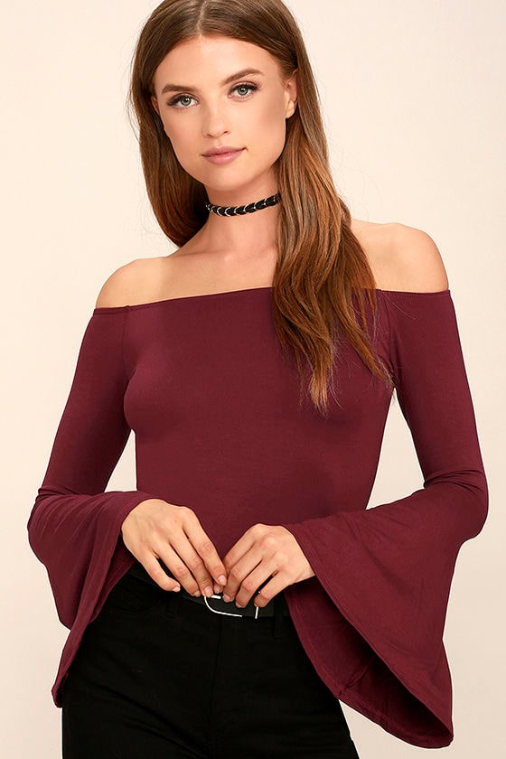 c8e2a146704 Chic Wine Red Top - Long Sleeve Top - Off-the-Shoulder Top - $26.00