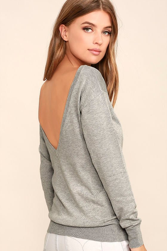 Me Too Heather Grey Backless Sweater Top 1